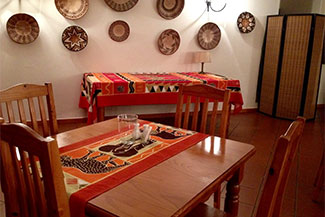 An inside look at one of the dining rooms available at Ekukhanyeni